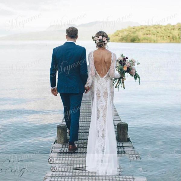 Romántico 2017 sirena bohemia completo de encaje vestidos de novia sin respaldo mangas largas barrido ajustado vestido de novia al aire libre país