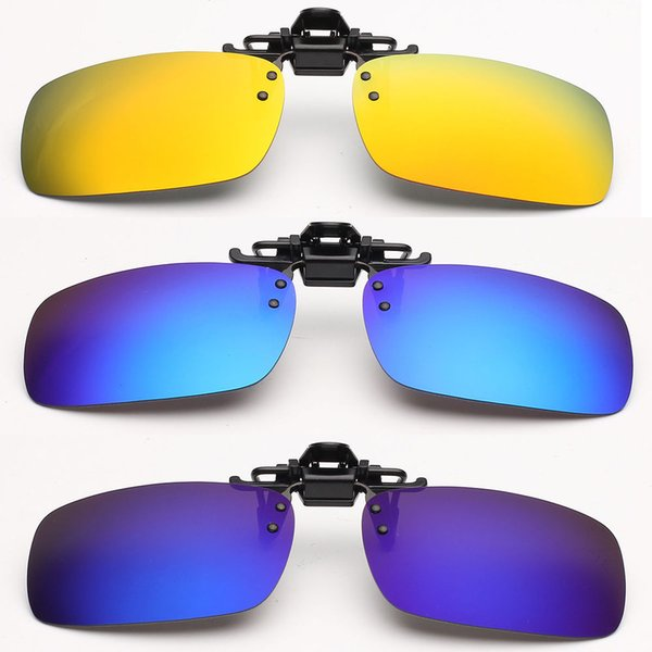Wholesale-Unisex Polarized Mirrored UV400 Clip-on Flip-up Sunglasses Clip Driving Fishing Glasses Night Vision Lens Anti-UVA Eyeglasses