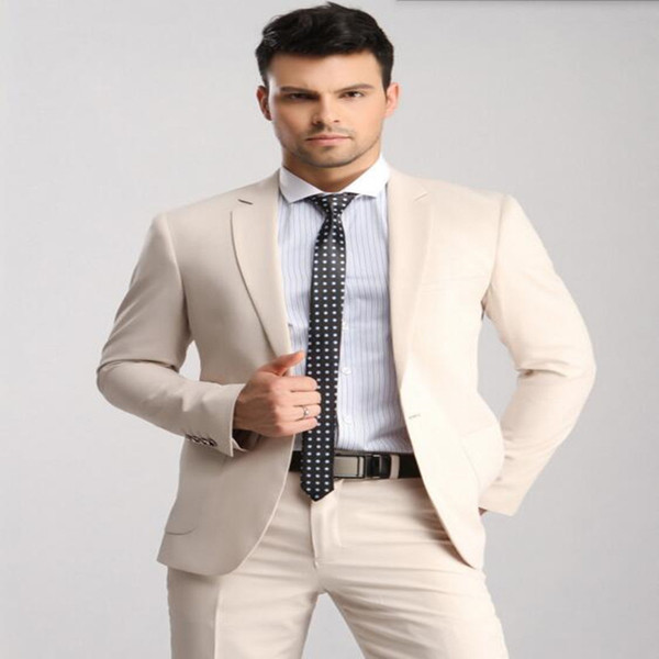Custom Made Beige Men Slim Suits groom Wedding Suits good quality groomsman Suit prom suits tuxedos(jacket+pants)