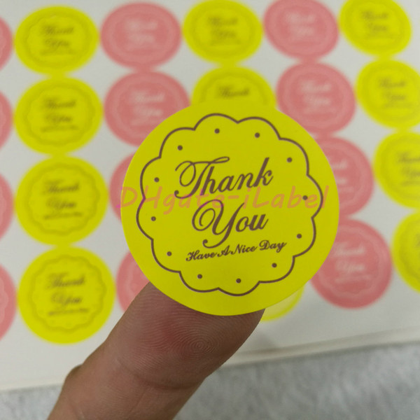 """best selling 360PCS Mixed Yellow Pink THANK YOU Design Sticker 27*27mm 1.06""""x1.06""""Food Seals, Gift stickers For Wedding Gift Cake Baking Sealing Sticker"""
