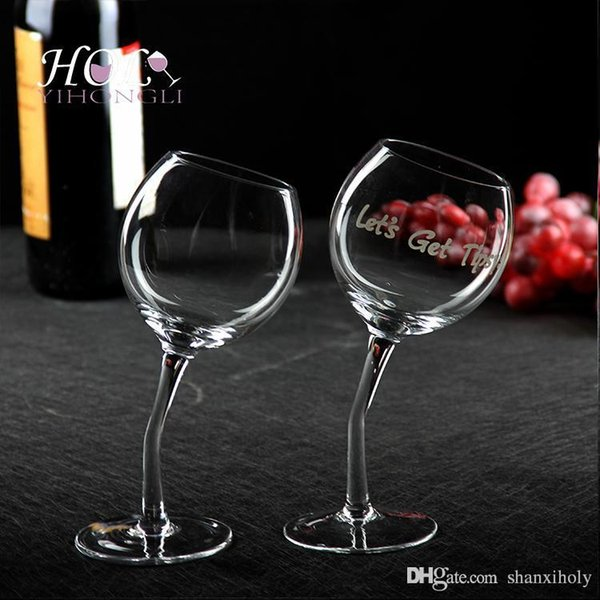 hand made Slim stem slanted wine glass long stem