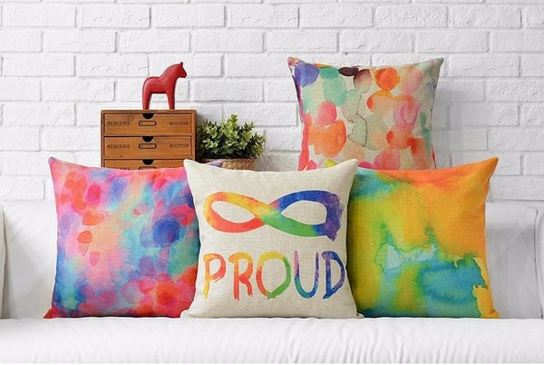 Ink And Color Painting Proud Children Art Brush Abstract Pillow Case Cover Euro Neck Travel Pillows Painting Home Gift Decor