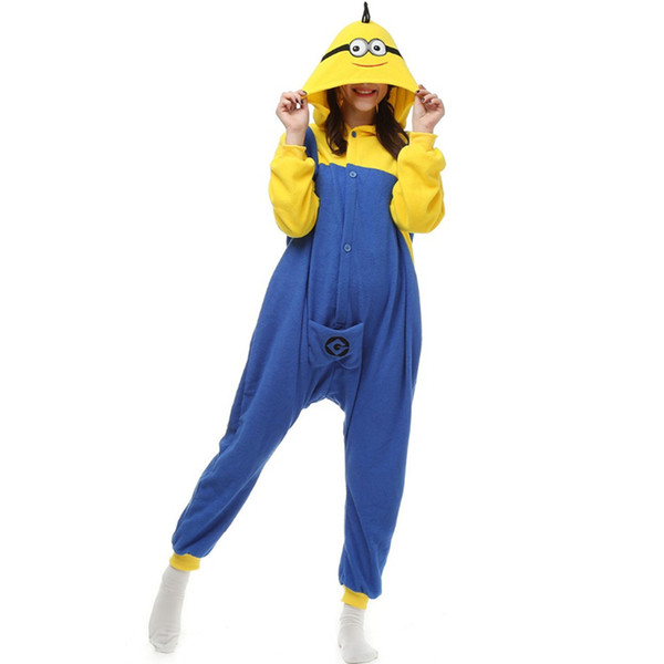 new Winter Sleepwear Hoodie Pyjamas Adult Despicable one eye Onesie Cosplay Costume Cartoon Adult yellow Pajamas jumpsuit Free Shipping