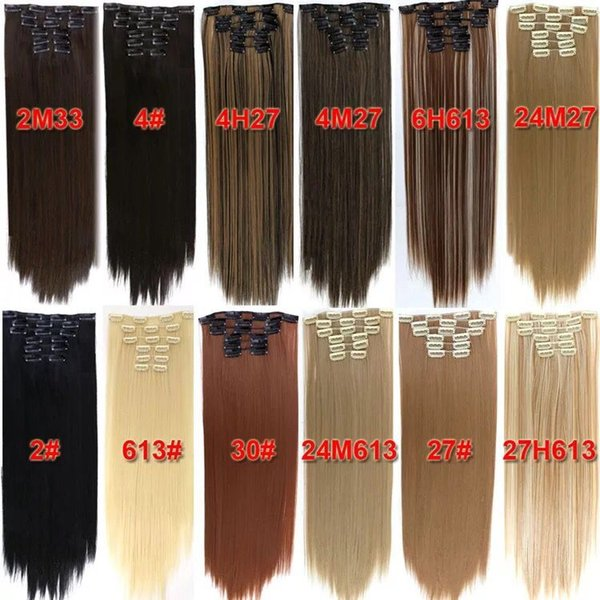 best selling 24inch 140g 6pcs with 16clips synthetic clip in hair high temprature fiber clip on hair extensions.no tange best quality clip in hairs