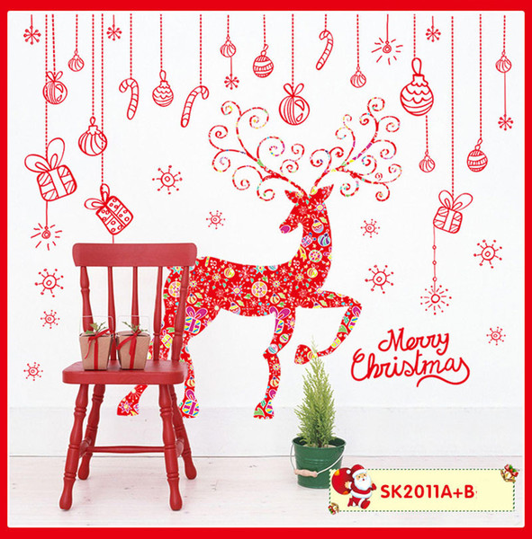 2 stücke 60x90 cm Rentier Schneeflocke Weihnachten Wandaufkleber Wohnkultur Aufkleber für Gläser Fenster Tür Zeigen Fenster Weihnachtsdekoration