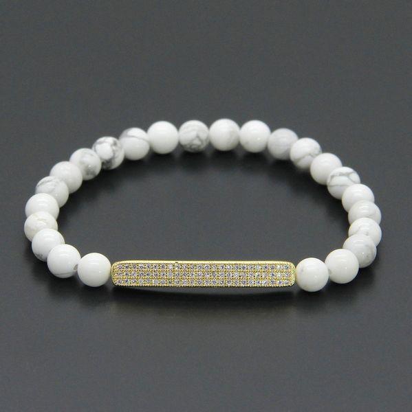 Venta al por mayor 10pcs / lot Summer Bars Zircon Jewelry 6mm White Howlite Marble Stone con Micro Inlay Pave Tube Beads Mens Pulseras