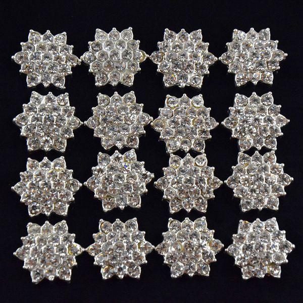 Gros-100pcs / lot bouton plat en cristal strass arrière pour invitation de mariage de fleur de cheveux, strass appliques accessoires livraison gratuite
