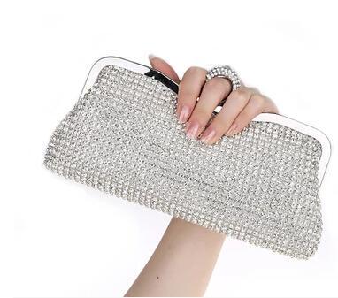 Diamond Rhinestone Tarde Clutch Bag Envío gratis Finger Ring Bolso monedero Evening Wedding Party Bag boca billetera roja teléfono paquete Silve