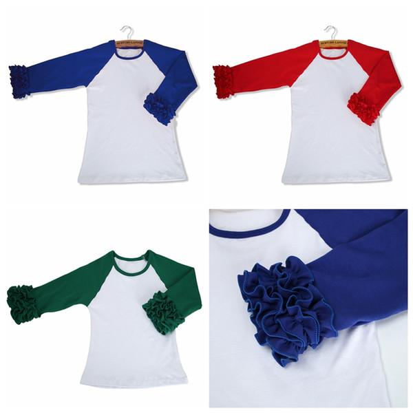 best selling Girls Spring Autumn O-neck shirt 2017 Kids girl long sleeve Cotton Tops fashion ruffle raglan Cloth patchwork outwear