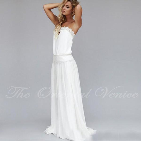 Bohemian Vintage Lace Dresses 1920s Summer Beach Wedding Dress Cheap Dropped Waist Strapless Backless Boho Bridal