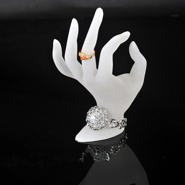 top popular Jewelry display ring stand acrylic ring bracelet necklace holder display white OK hand shape dislay 2021
