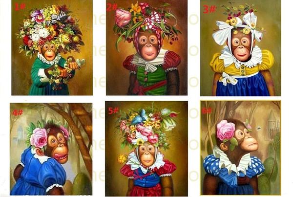 Freies Verschiffen, Affen mit Blumen reinem handgemachtem Tierporträt-Kunst-Ölgemälde-Segeltuch, wählen von den Bildern mit der kundengebundenen angenommenen Größe