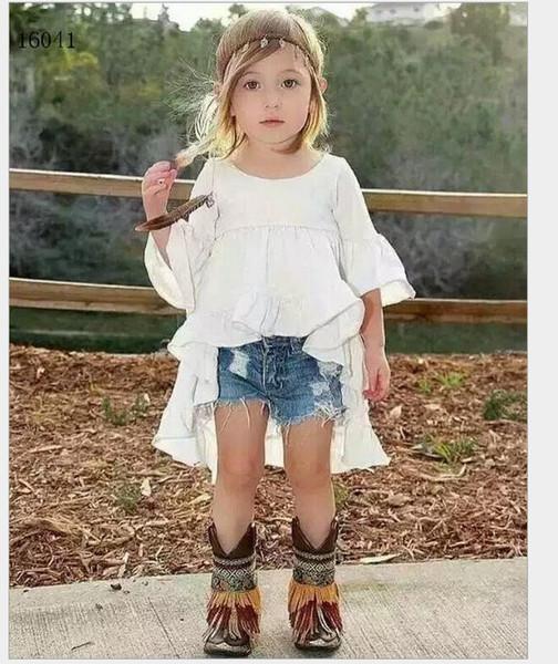Fashion Girls Clothes Sets 2016 Girl White Tuxedo Dress+Cowboy Shorts 2pcs Kids Outfits Baby Girl Clothing Child Suit 2-7T 6sets/lot