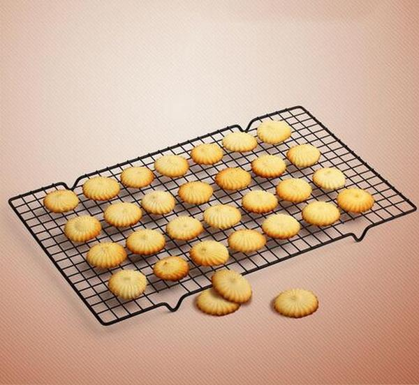 50 ensembles / lot, noir rectangle rectangulaire maille antiadhésive de gâteau de grille de cuisson biscuits séchage biscuits pain muffins outils 25 * 40 cm
