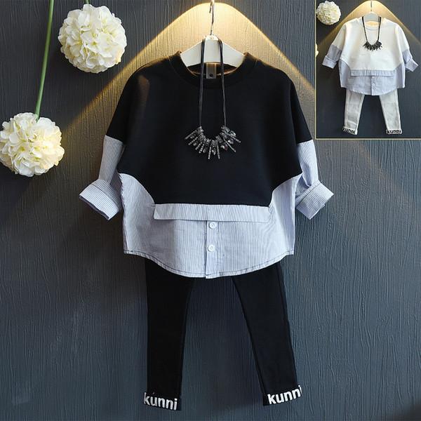 Toptan-Kızlar sonbaharda 2016 yeni uzun kollu kazak yanlış bom t-shirt ücretsiz kargo