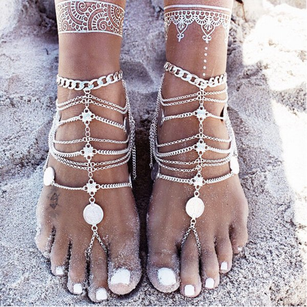 Newest Women Alloy Anklets Chain Lady Barefoot Sandals anklet Adjustable Foot Chain Bohemian retro coin Pendant tassel Ankle Bracelet B952