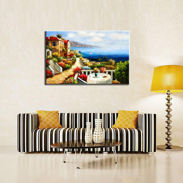 1 Picture Combination Canvas Paintings Mediterranean Villas Modern Canvas Wall Art Decor Home Decoration for Living Room Gifts