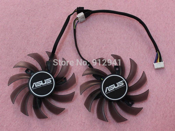 Wholesale- Firstd FD7010H12S 75mm Video Card Dual Cooler Fan Replacement 40mm 12V 0.35A 4Wire 5Pin for ASUS GTX660 GTX670 GTX770 R9-270X