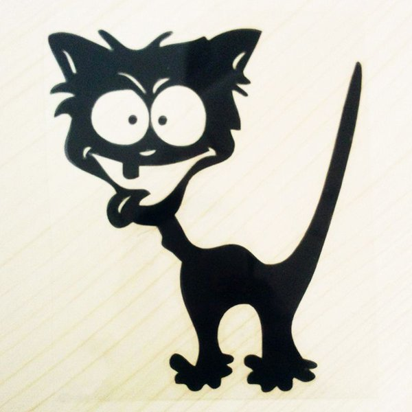 Wholesale 2016 Cute Car Styling Waterproof Vinyl Funny Crazy Cat Car Sticker Cool Auto Accessories for BMW Mazda Cruze All Cars, 13x11.3CM