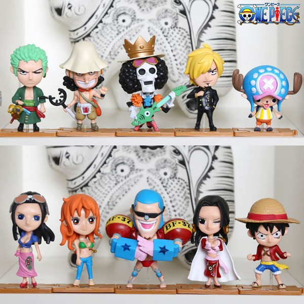One Piece 10pcs set Luffy Nami PVC Japanese Anime Action Figures Toys Brinquedos Collection Model Doll Gift For Boys free shipping
