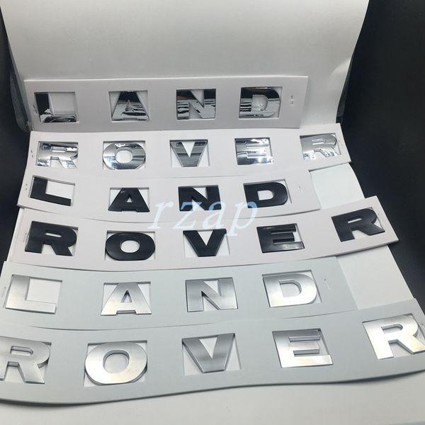 Estilo do carro Para Land Rover Logo Carta Emblema Etiqueta Auto Frente Capa Preto / Prata Emblema Do Decalque
