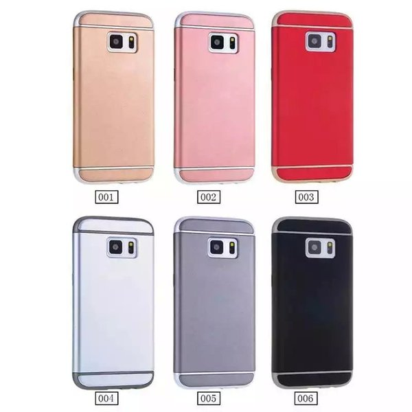 For Iphone X 8 7 Plus 6 6S SE 5 5s/Galaxy S9 S8 S7/Edge 3 in 1 Hybrid Hard PC Matte Oil Case Rose Gold Chromed Plating Anti-knock Shockproof