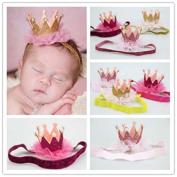 6 Color 2016 Baby Crown Headband Baby Bling Elastic Headwear New Born Baby Photography Props Lace Hair Accessories K7139
