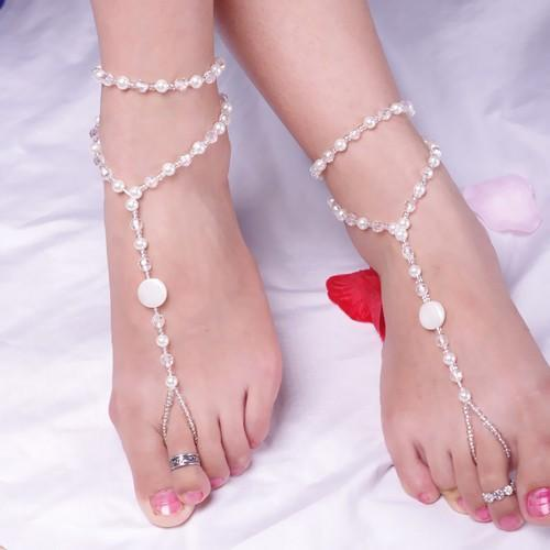 barefoot sandals stretch anklet chain with toe ring slave anklets chain retaile sandbeach pearl anklets wedding bridal bridesmaid anklets