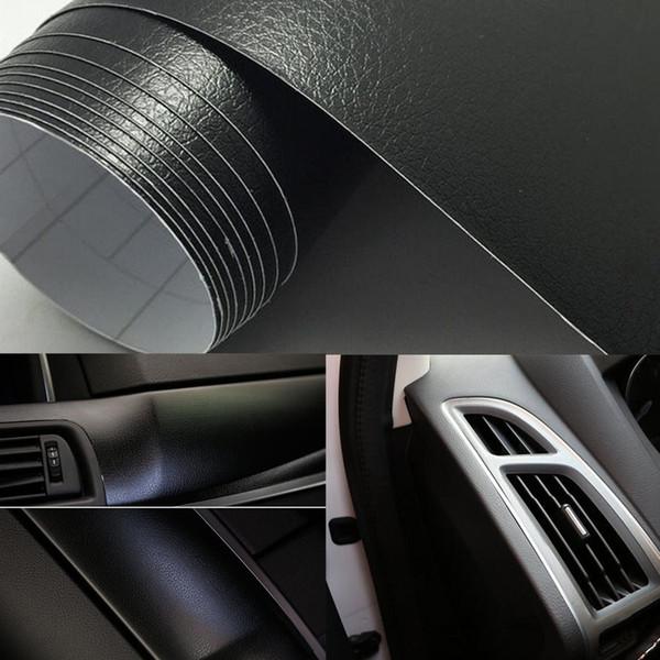 Novo 12 Polegada x 60 Polegada PU Textura De Couro Do Carro de Vinil Envoltório Etiqueta Do Carro Adesivo Interno Decal Film Car Styling