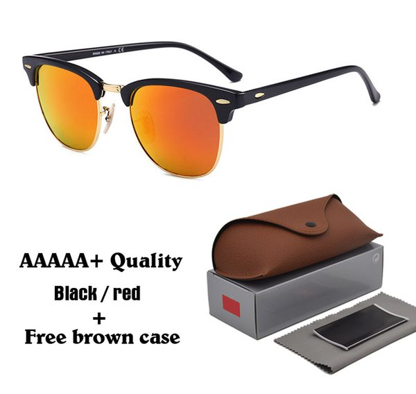 Mens Womens Sunglasses Brand Designer Cat Eye sun glasses Semi-Rimless Frame Glass Lenses uv400 Goggle With Brown Case and box
