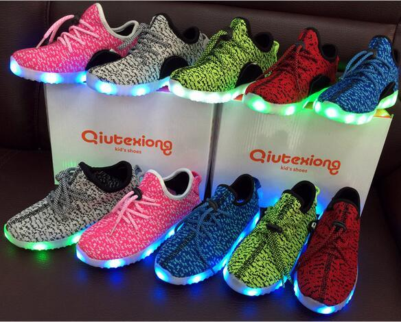 Baby Shoes Sneakers LED Sports Shoes for Kids Girls Boys Boots USB Charge Children Sport Running Shoes Black Pink Blue Size EUR 25-37
