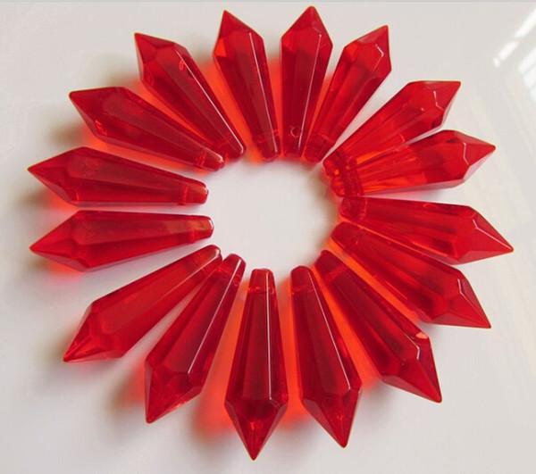 576pcs Eiszapfen-Leuchter-Kristallprisma-Blut-Rot 38mm Eiszapfen-Speer-Verzierung-DIY Kristallanhänger für Leuchter-neuen Leuchter-Kristall