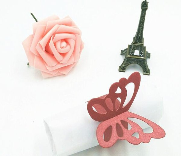 Metallic Butterfly Paper Napkin Rings Wrap Wedding Holder Bridal Shower Favor Napkin Holder For Party Home Table Decoration 9 Colors