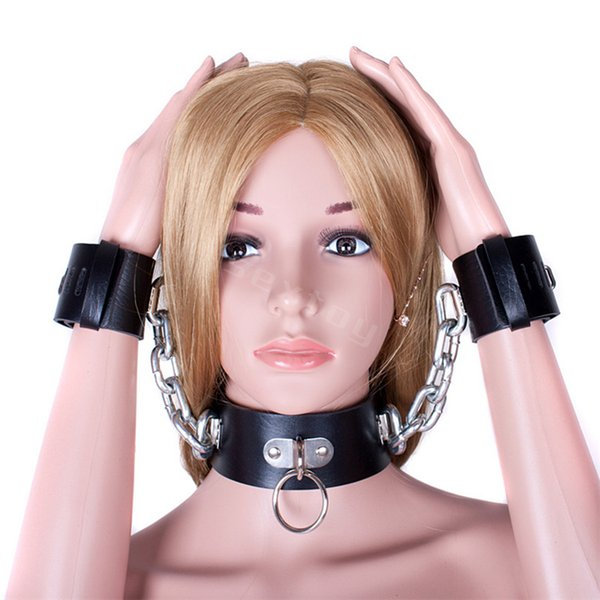 Free shipping Black Leather Heavy Metal Chain Lockable Collar Handcuffs Positioning Gear Slave Bondage Fetish Sex Shackles