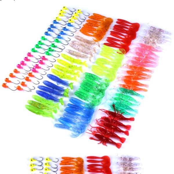 Variety Colors 131PCS Soft Plastic Baits Suits Jig Heads Hooks Shrimp Worms Fish Bait 668g Saltwater Fishing Lure Tackle with Box-packed