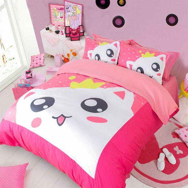 Venta caliente 2017 Nueva Llegada Pink Cat Impresión Conjuntos de ropa de Cama Doble Completa Queen King Size Tela Fundas Nórdicas de Algodón Fundas de Almohada Consolador Animal