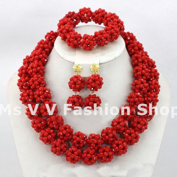 african beads jewelry set 2019 new design Handmade red Rhinestone Necklace Nigerian Wedding bridal party event gift Jewelry Set