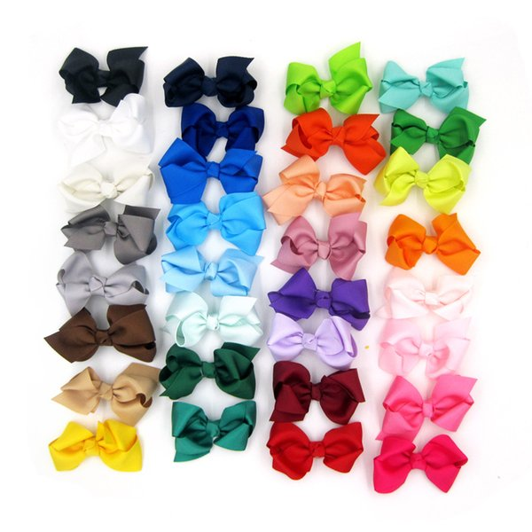 """top popular New 40 color 3"""" 8cm Ribbon Bows with Clip,solid color bows clip,baby hair bow,boutique hair accessories girls hair clips C1228 2019"""