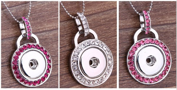 NOOSA 3 Colors Metal Ginger Snap Button Pendants Necklace With Crystal Jewelry Interchangeable Jewerly Xmas Gift D802L