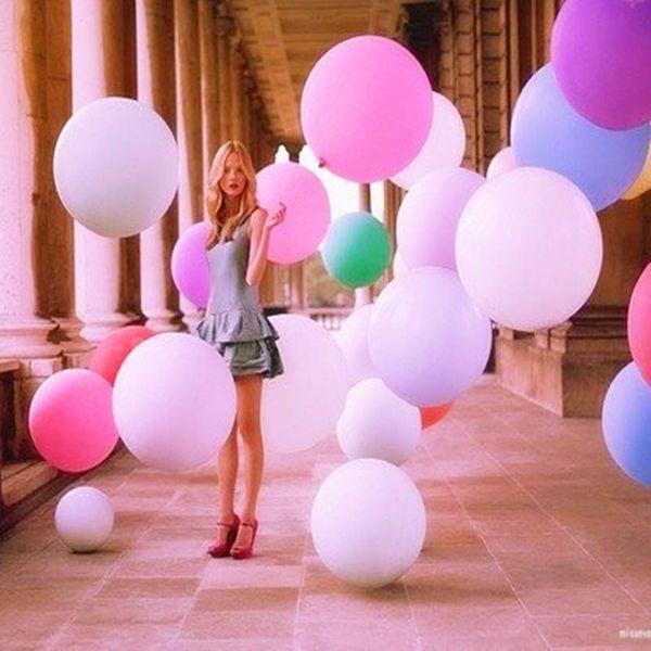 "Newest Colorful Big Balloon 36 ""25g Round Latex Balloon Wedding Decoration Arrangement Festival Balloon Valentine's Day Big Ball Free DHL"
