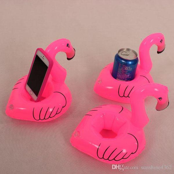 12 adet / grup Flamingo Şişme İçecek Botlle Tutucu Güzel Pembe Yüzer Banyo Çocuk Oyuncakları Çocuklar Için Noel Hediyesi S30263
