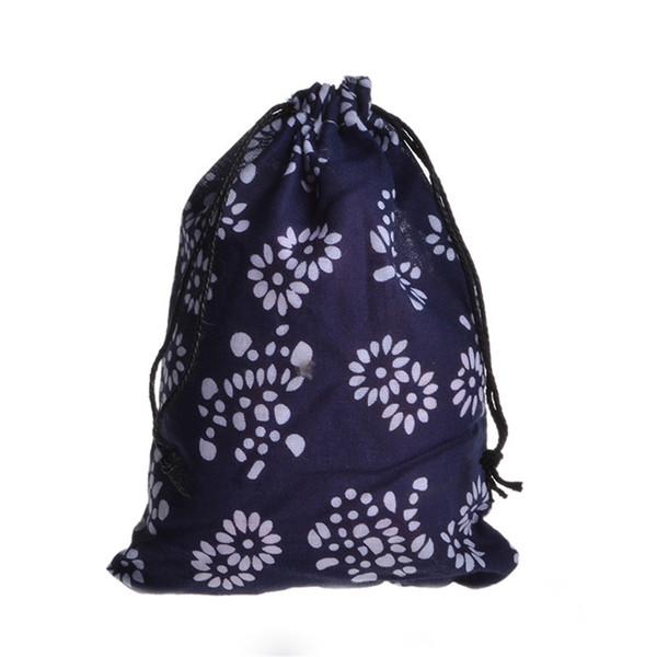 Drawstring Cotton Linen Pouches Ethnic Vintage Flowers Gift Bag Tea Coin Storage Bags 25PC Color Send Randomly