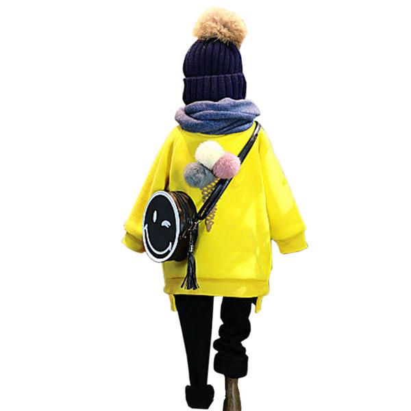 Atacado-Outono Inverno Crianças Roupa Moda Meninas Hoodies Bola Macia Projetado Amarelo Grosso Quente Tops Crianças Outwears