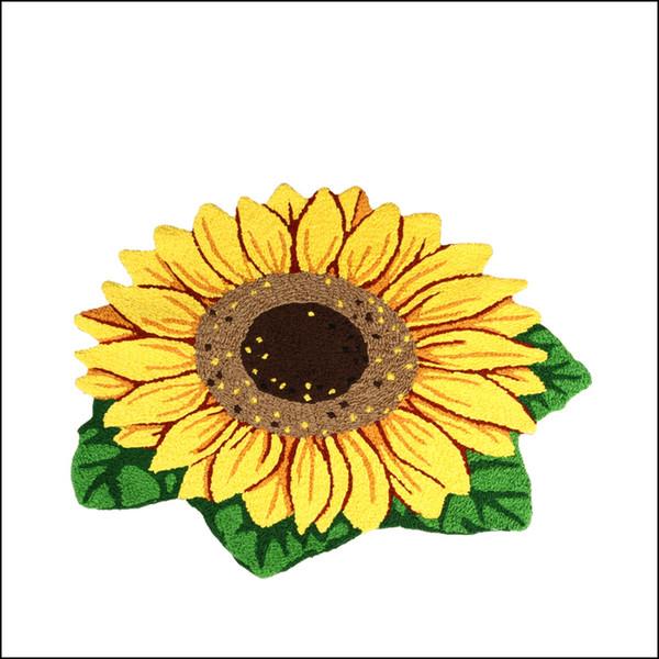Neue Hand Süchtig Vivid Sun Flower Mat Living Tür Matten, Neuheit bestickt Veranda Fußmatte Stock Karpet Schlafzimmer Teppiche Geschenk