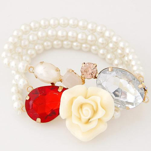 High End Fashion Jewelry Accessories Pearl Rose Flowers Water Drop Geometric Warp Charm Chains Elasticity Multilayer Bracelets For Women