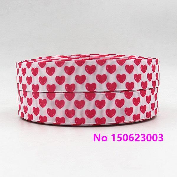 ribbon 1 'inch 25mm 150623003 corazón artoon imprimió la cinta del grosgrain 50yds / roll envío libre para el lazo del pelo de la venda