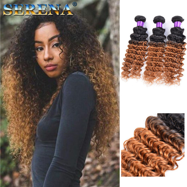 Dark Honey Blonde Hair Colorful 1b 30 Blonde Dark Root Ombre Brazilian Deep Wave Curly Human Hair Weave Weft Extensions 3 Bundles Best Hair Weaves