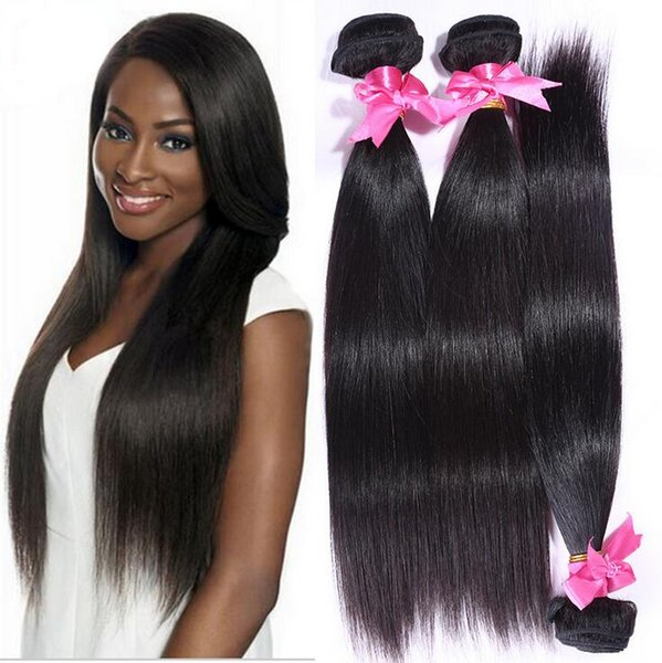 8A High Quality Peruvian Straight Hair Unprocessed Human Hair Extensions 8-30inch Natural Black Color Full Dyeable 5pcs/lot Free Shipping