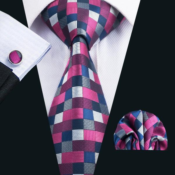 Classic Silk Mens Neckties Plaids Tie Sets Newest Tie for Men Tie Hanky Cufflinks Set Jacquard Woven Meeting Business Wedding PartyN-1409