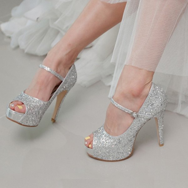 Charmant Bling Bling Peep Toe 10cm Heels Silver Wedding Shoes Glitter Bride Dress  Shoes Prom Party High